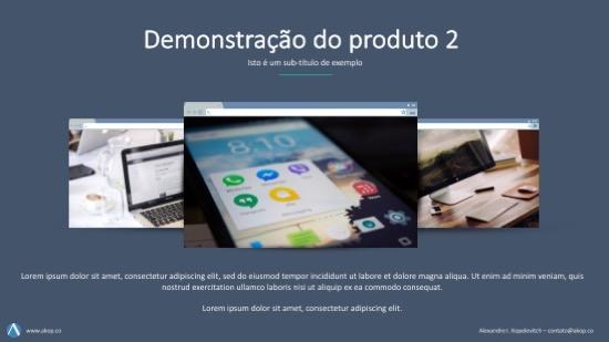 Apresentação de sua empresa: slide de demonstração do produto