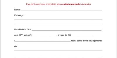 Modelo para Recibo de Pagamento (baixe grátis em Word)